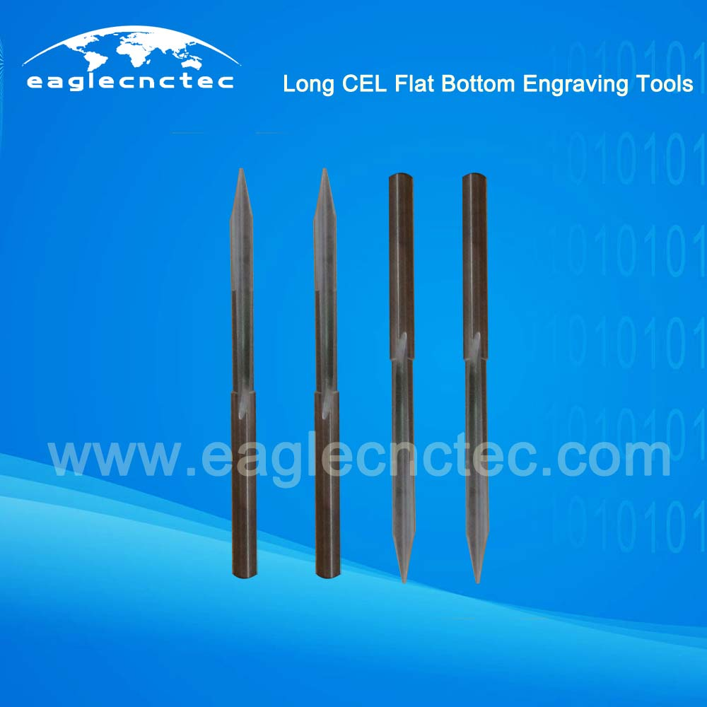 Flat Bottom V Shaped Long CEL Engraving Router Bits For Deep Relief
