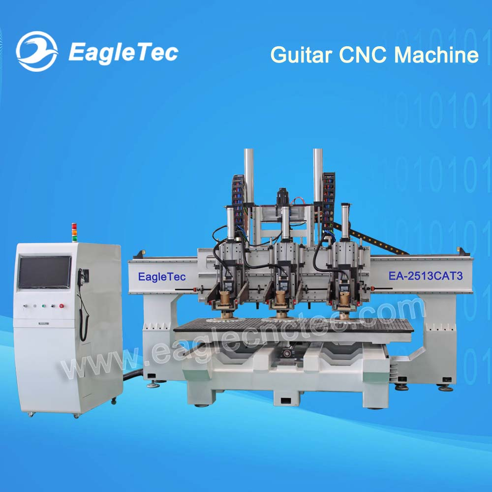 Custom Solution – Three Head ATC CNC Router for Guitar Making Working Size 2500x1300mm