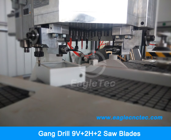gang drill package 9v + 2h mounted on cnc wood router eagletec