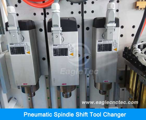 pneumatic spindle shift tool changer on cnc wood router
