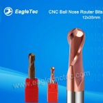CNC Ball Nose Router Bits 12x35x75mm Two Flute For Wood And Aluminum